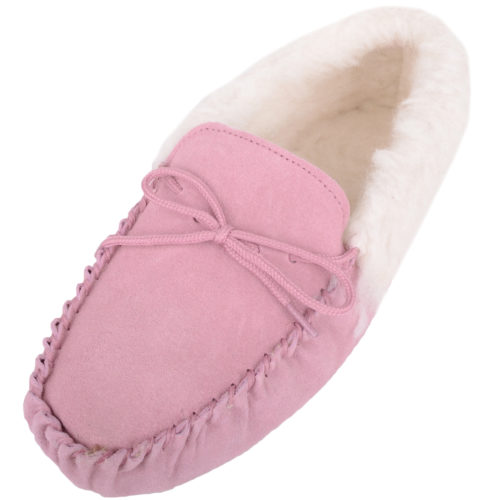 Snugrugs Soft Sole Wool Cuff Moccasin - Pink
