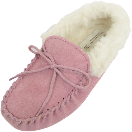 Snugrugs Ladies Wool Lined Suede Moccasins Wool Cuff Pink