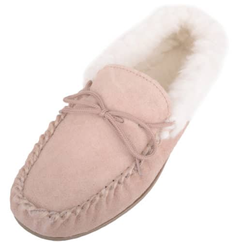Snugrugs Rubber Sole Wool Cuff Moccasin - Camel