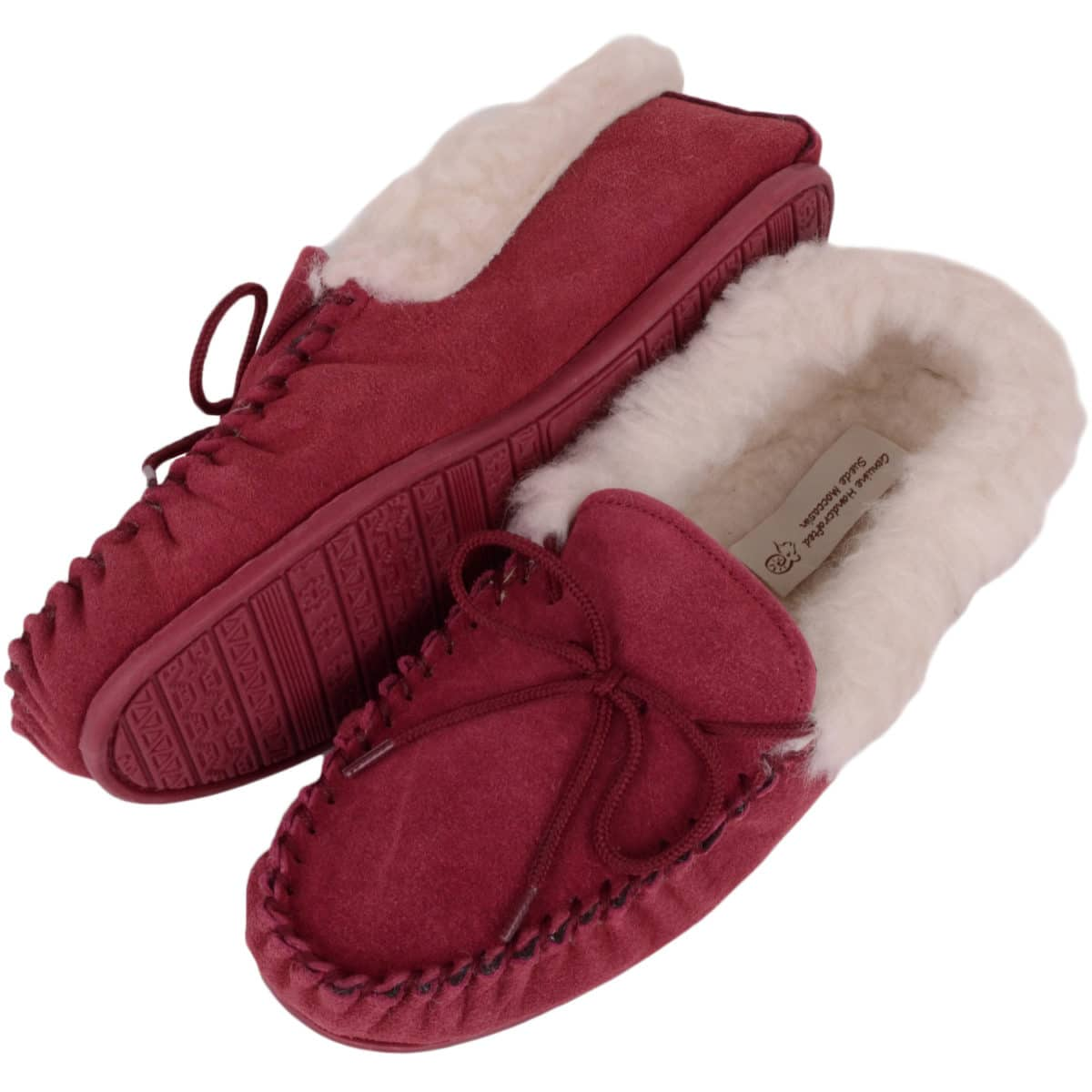 Snugrugs Rubber Sole Wool Cuff Moccasin - Crimson