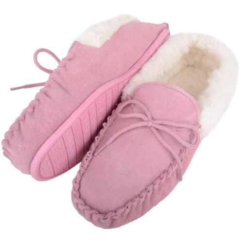 Snugrugs Rubber Sole Wool Cuff Moccasin - Pink