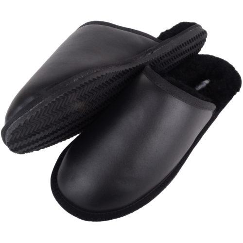 Snugrugs - Mens Leather Sheepskin Mule Slipper - Black