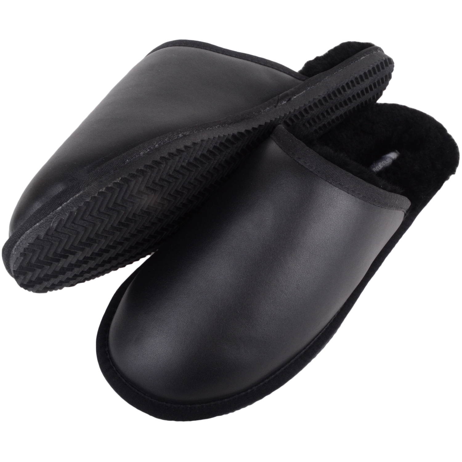 Snugrugs - Mens Leather Sheepskin Mule Slipper - Black