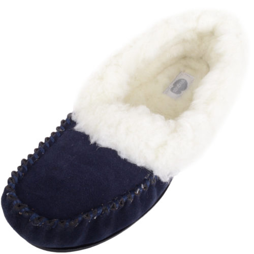 Snugrugs Layla - Luxury Wool Lined Slipper - Navy