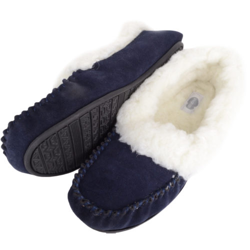 Snugrugs Layla - Luxury Wool Lined Slipper - Navy