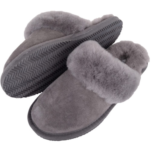 Snugrugs - Ladies Sheepskin Mule Slippers - Grey