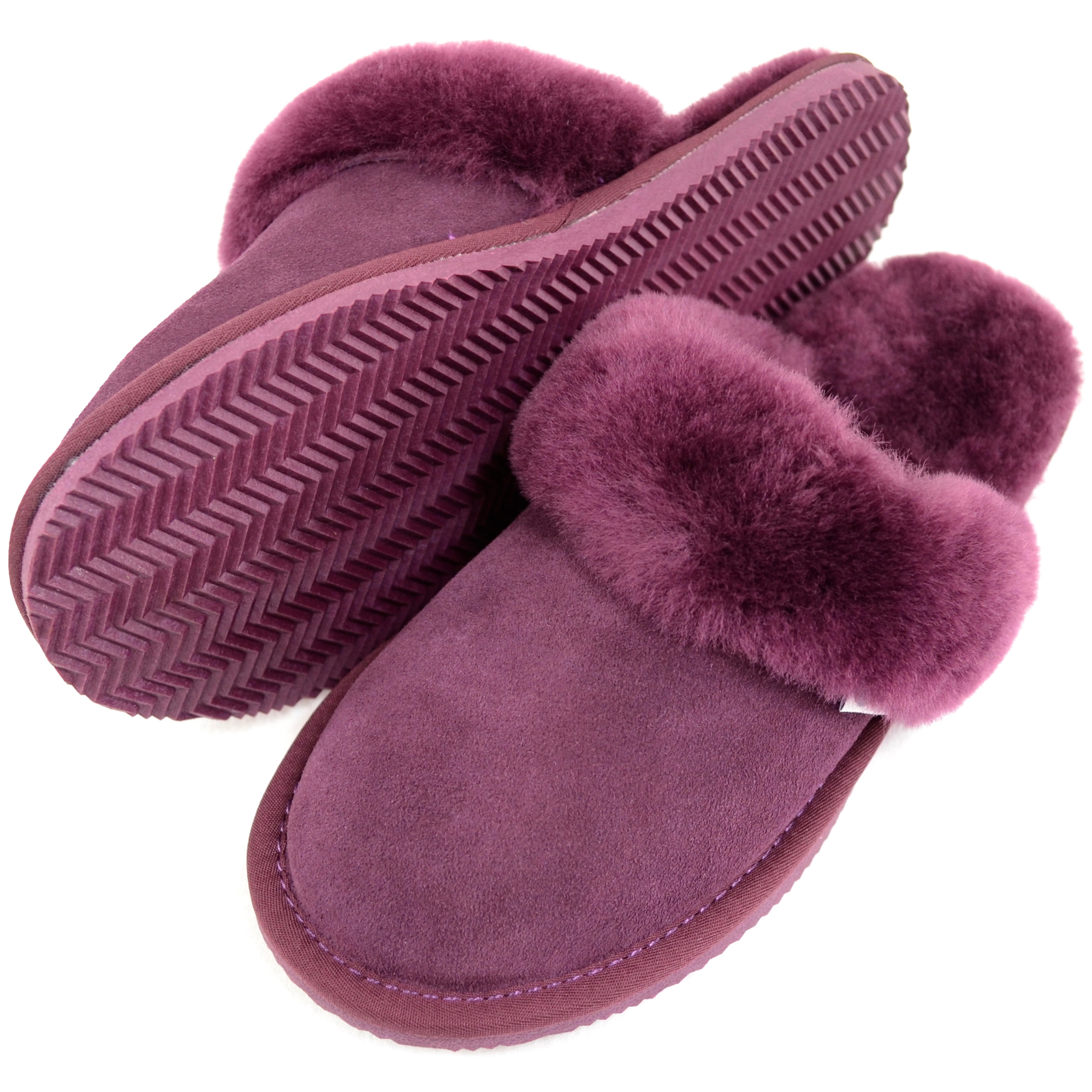 Snugrugs - Ladies Sheepskin Mule Slippers - Plum