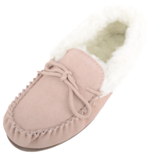 Snugrugs Ladies Wool Cuff Moccasin Slipper - Beige