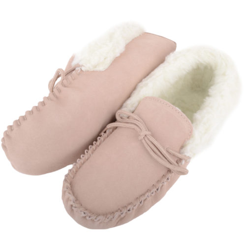 Snugrugs Ladies Wool Moccasins Suede Sole