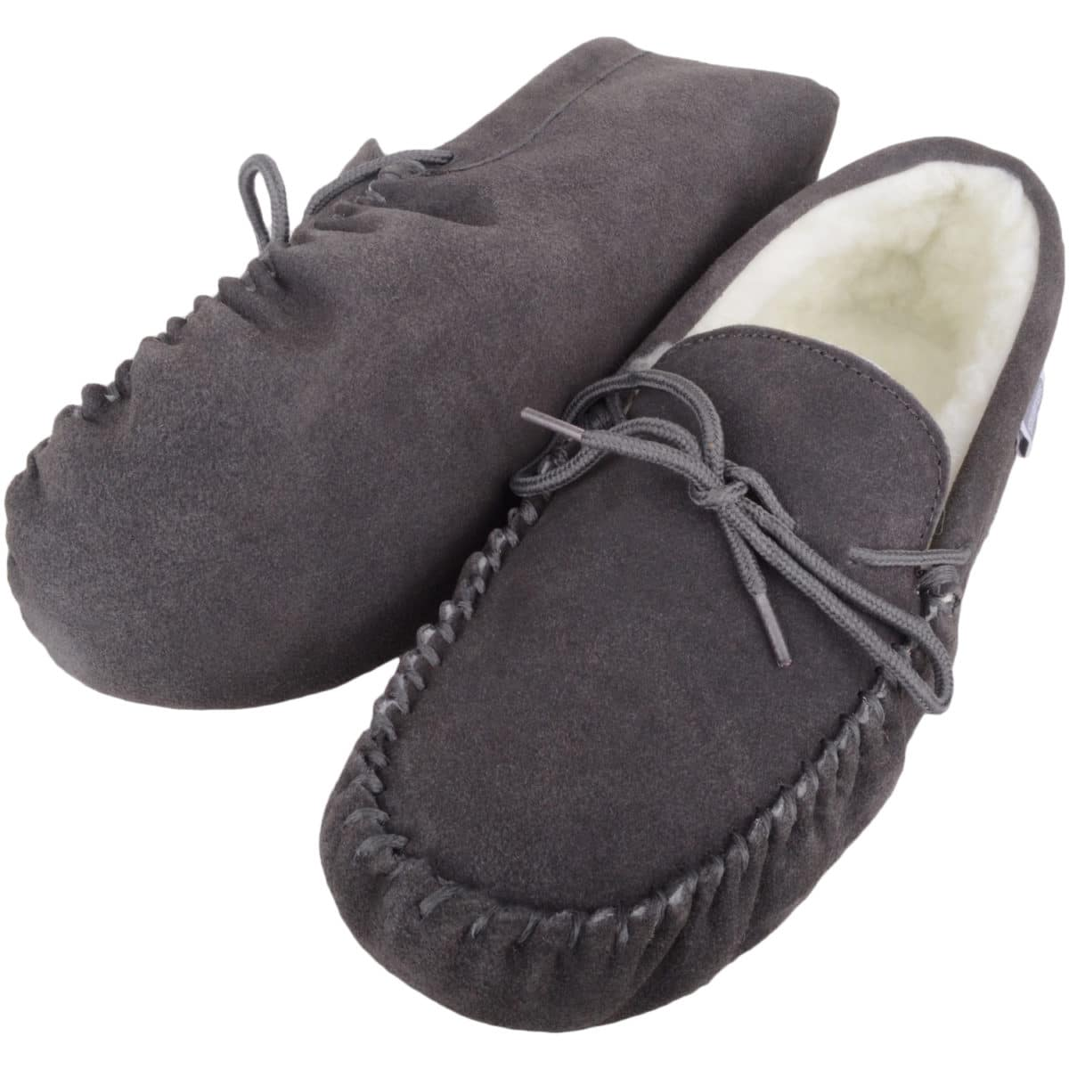 Snugrugs - Wool Lined Suede Moccasins Suede Sole - Grey