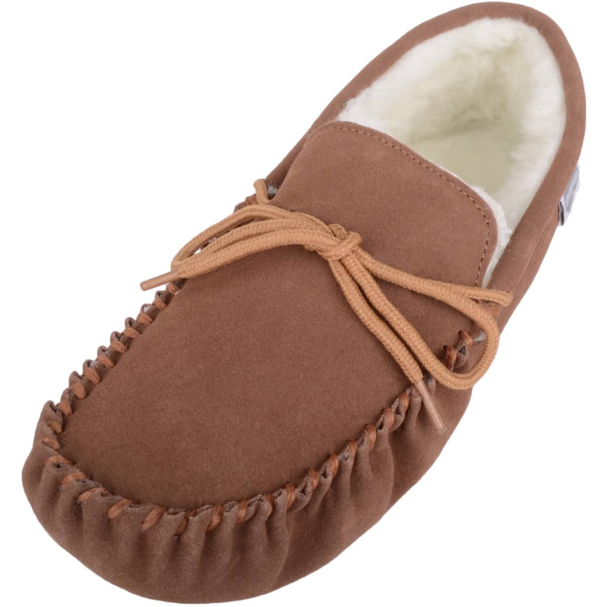 Snugrugs - Wool Lined Suede Moccasins Suede Sole - Light Brown