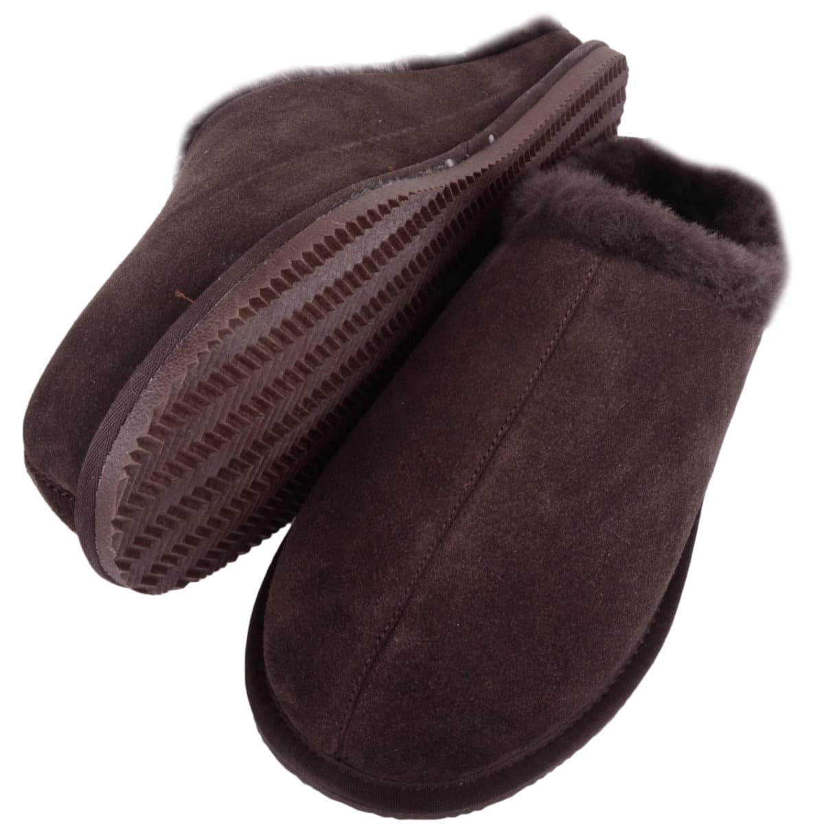 Snugrugs - Mens Rubber Sole Sheepskin Slippers - Brown