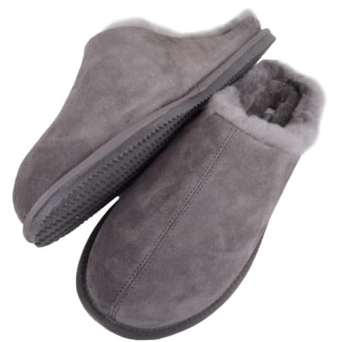 Snugrugs - Mens Rubber Sole Sheepskin Slippers - Grey