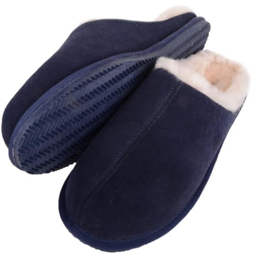 Snugrugs - Mens Rubber Sole Sheepskin Slippers - Navy