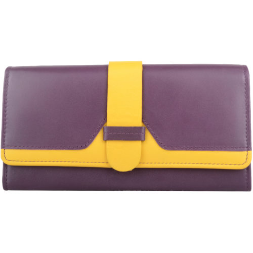 Genuine Soft Leather Bi-Fold Purse - Amber