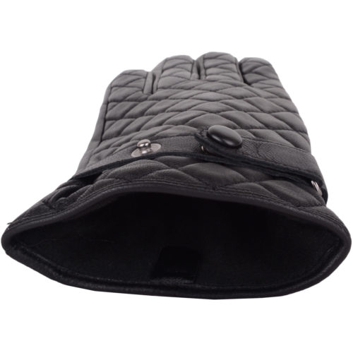 Snugrugs - Ladies Quilted Leather Gloves - Black