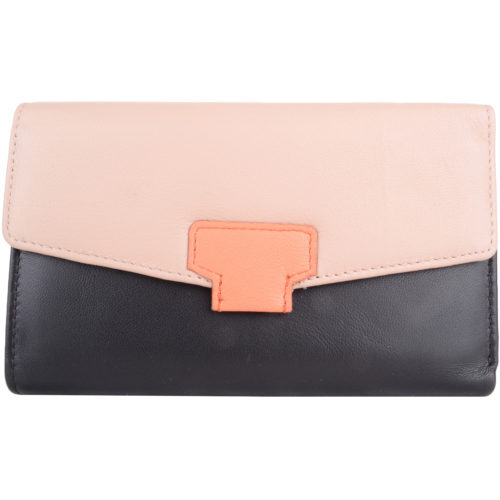Soft Leather Tri-Fold Money Purse - Alyona - BlackCream