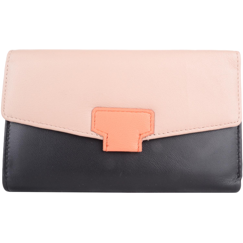 Soft Leather Tri-Fold Money Purse - Alyona - BlackCream