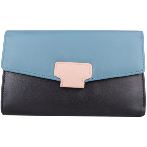Soft Leather Tri-Fold Money Purse - Alyona - BlackTurquoise