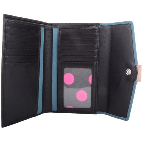Soft Leather Tri-Fold Money Purse - Alyona - BlackTurquoise