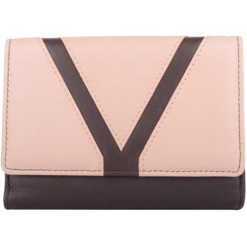Soft Leather Bi-Fold Money Purse - Arlene - DarkTaupeCream