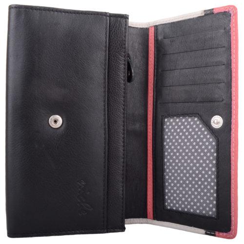 Soft Leather Bi-Fold Multi-Colour Purse - Bea - BlackWhiteCoral
