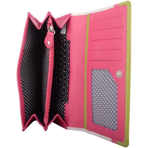 Soft Leather Tri-Fold Multi-Colour Purse - Bessie - PinkWhiteGreen