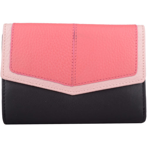 Soft Leather Tri-Fold Multi-Colour Purse - Bessie - BlackCoral
