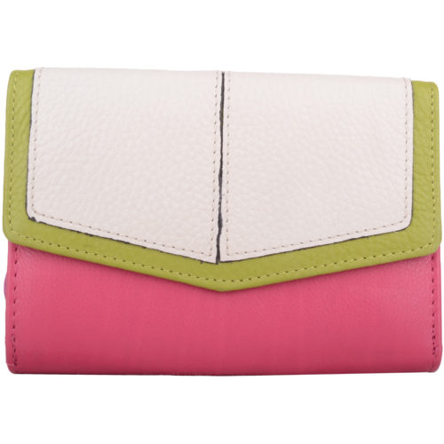 Soft Leather Tri-Fold Multi-Colour Purse - Bessie - PinkWhiteGreen