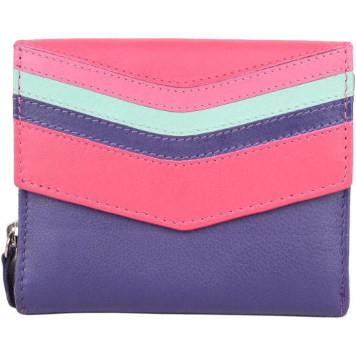 Bianca - Ladies Leather Tri-Fold Purse - Purple