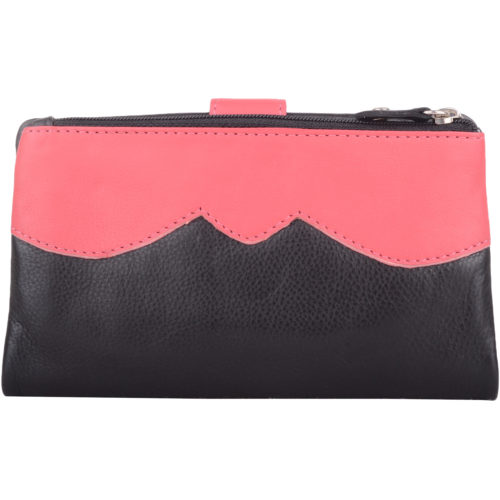 Genuine Soft Leather Slim Bi-Fold Purse - Kylie - Black