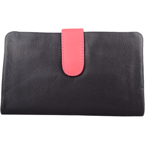 Genuine Soft Leather Slim Bi-Fold Purse - Kylie - Black