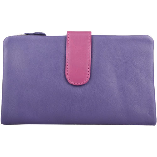 Genuine Soft Leather Slim Bi-Fold Purse - Kylie - Purple