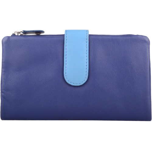 Genuine Soft Leather Slim Bi-Fold Purse - Kylie - Blue