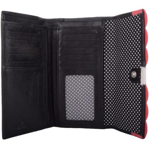 Large Genuine Soft Leather Purse - Laurel - Black