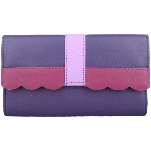 Large Genuine Soft Leather Purse - Laurel - Purple
