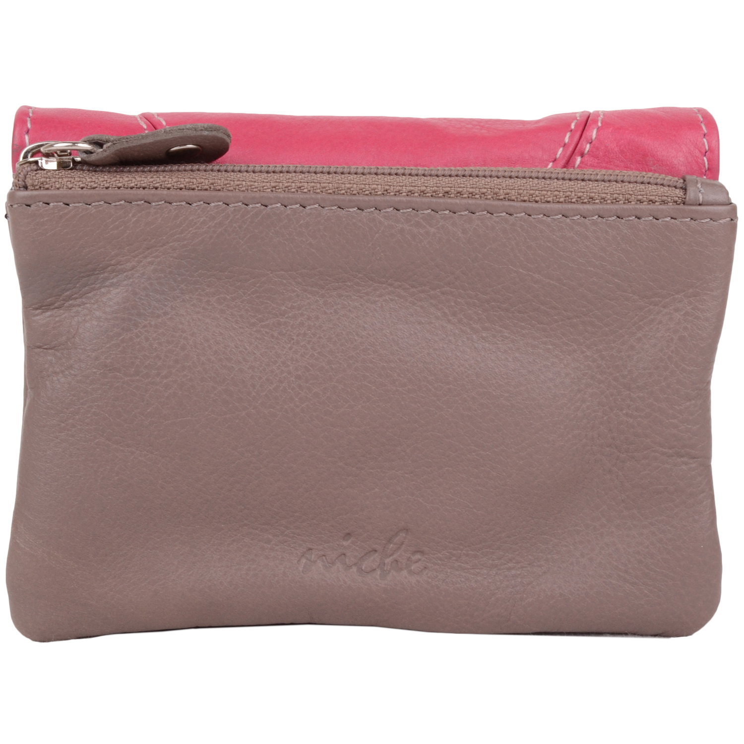 Soft Leather Coin Holder Purse - Skye - Taupe