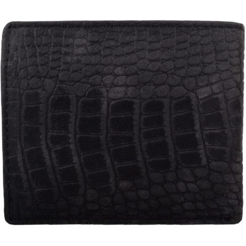 Leather Bi-Fold RFID Protected Croc Design - Black