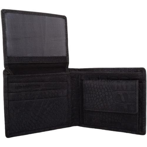 Leather Bi-Fold RFID Protected Croc Design - Navy