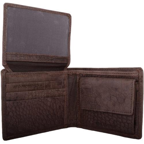 Leather Bi-Fold RFID Protected Croc Design - Dark Brown