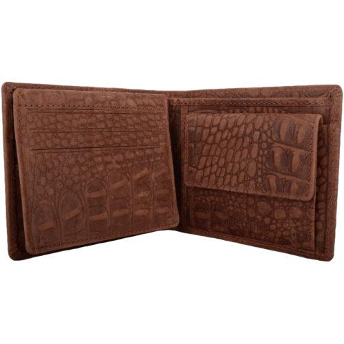 Leather Bi-Fold RFID Protected Croc Design - Tan
