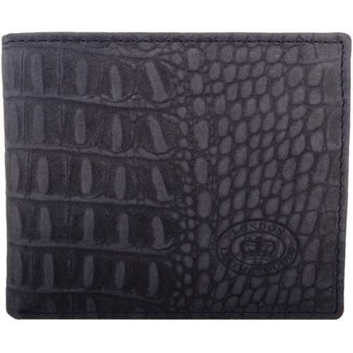 Leather Bi-Fold RFID Protected Croc Design - Navy