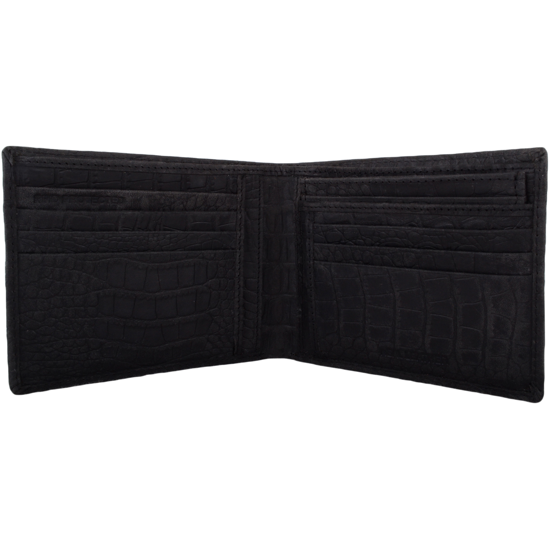 Leather Bi-Fold RFID Protected Money / Coin Holder - Black
