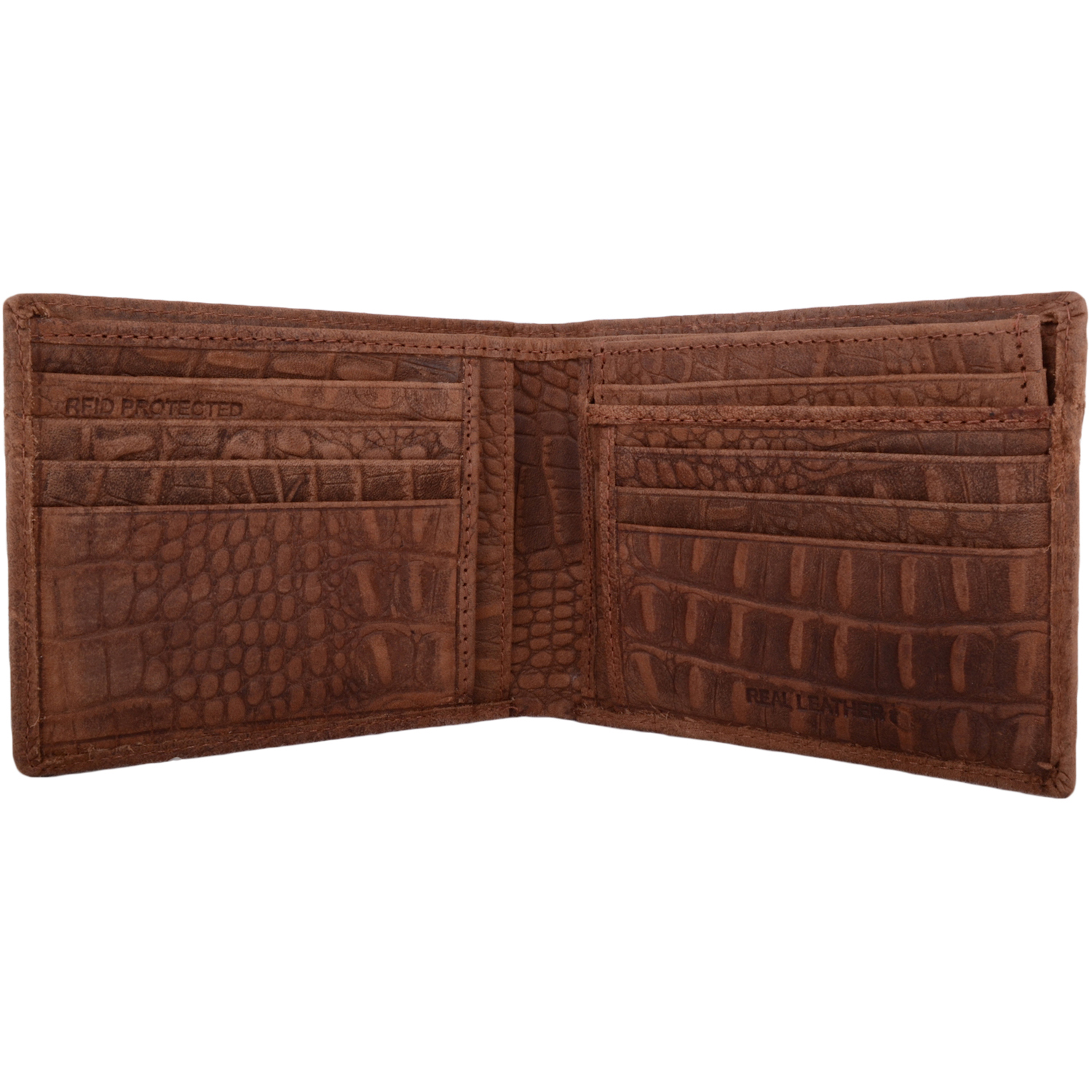 Leather Bi-Fold RFID Protected Money / Coin Holder - Mid Brown