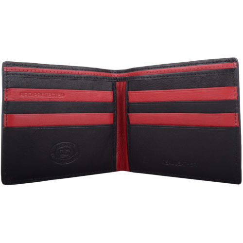 RFID Protected Bi-Fold Soft Leather Wallet - Black/Red