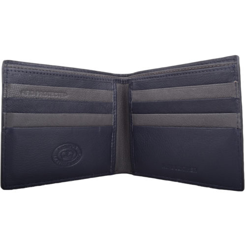 RFID Protected Bi-Fold Soft Leather Wallet - Navy/Grey