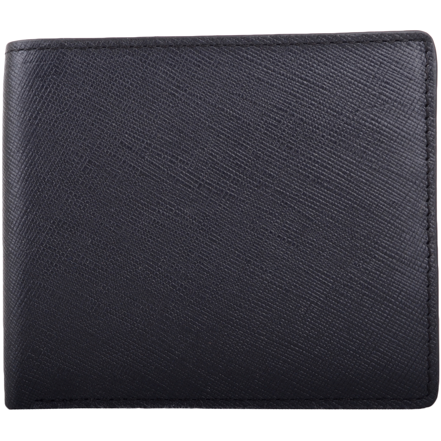 RFID Protected Bi-Fold Soft Leather Wallet - Navy/Red