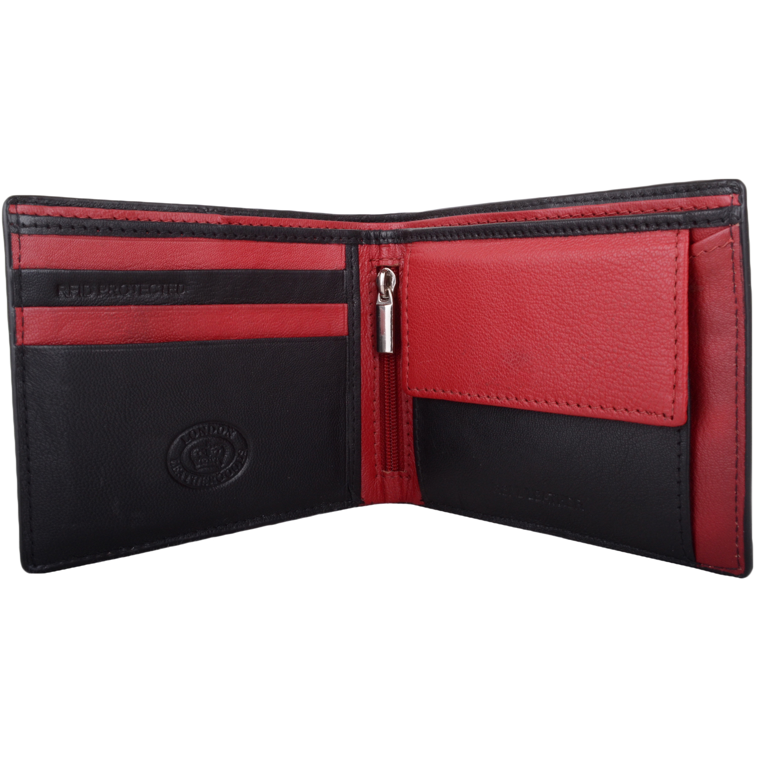 RFID Protected Leather Multi-Colour Wallet - Black/Red