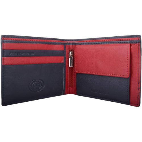 RFID Protected Leather Multi-Colour Wallet - Navy/Red