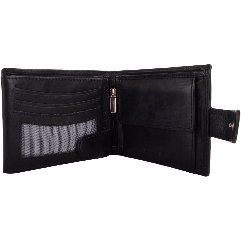 Soft Leather Bi-Fold RFID Protected Wallet - Black